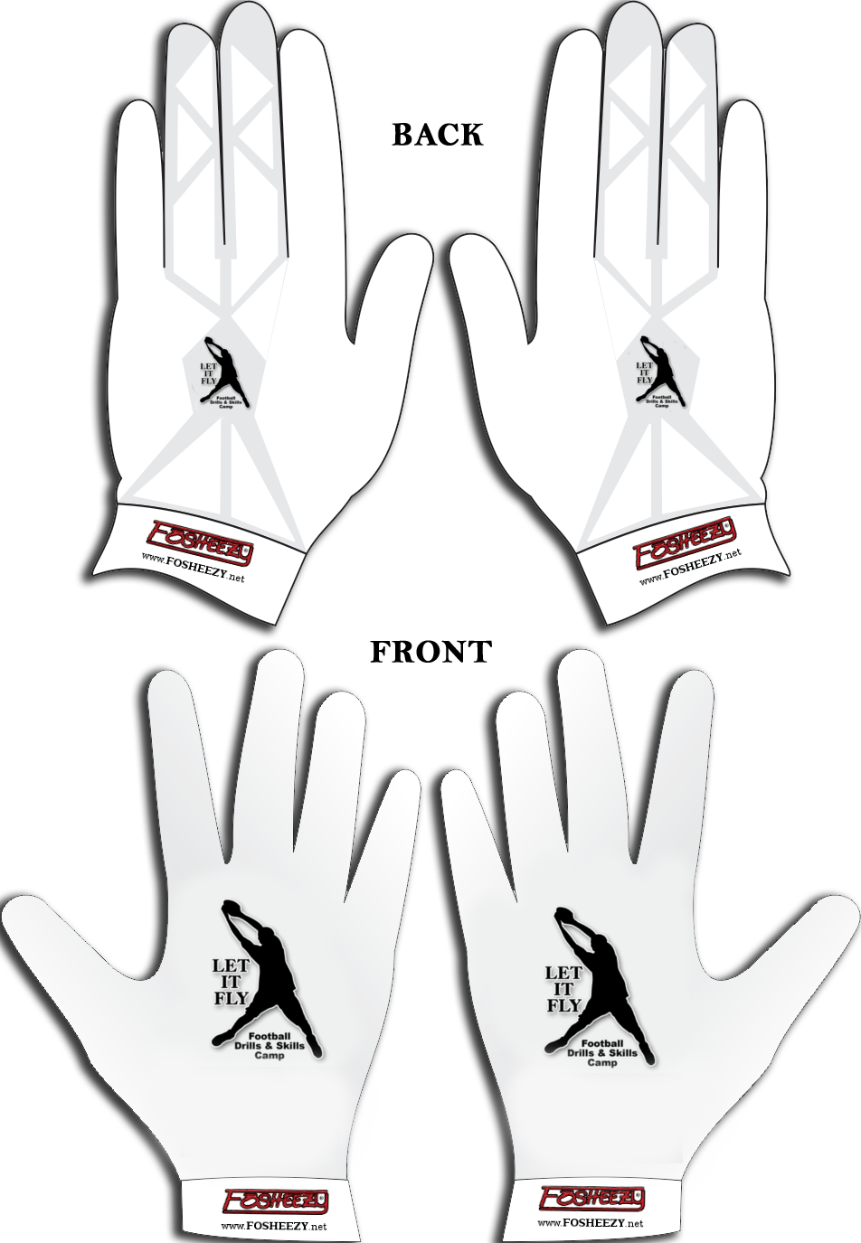 Let it fly drills and skills football camp glove mockup
